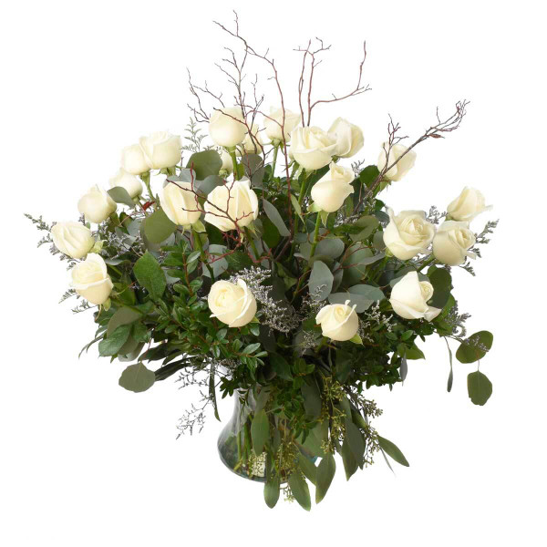 24 White Roses Arrangement | Burnaby local florist Adele Rae