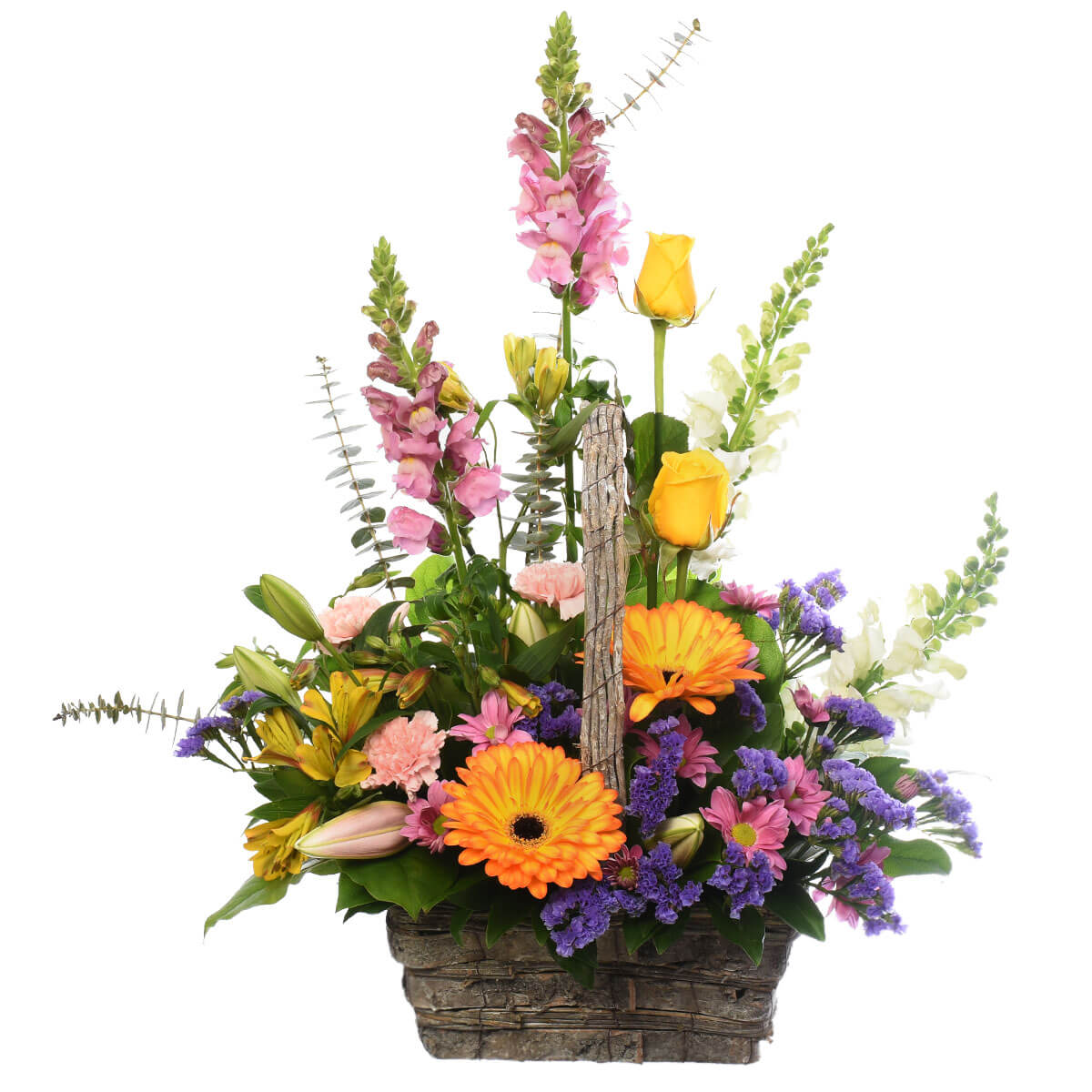 A garden basket with mixed flowers in Burnaby