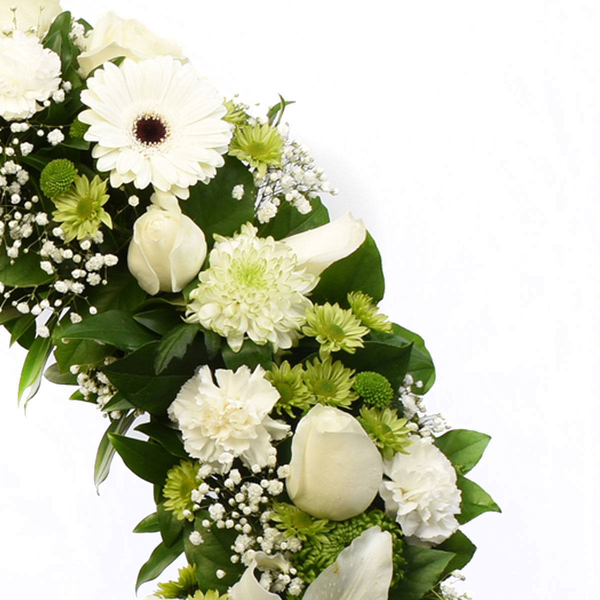Sympathy wreath with roses, lillies and white gerberas