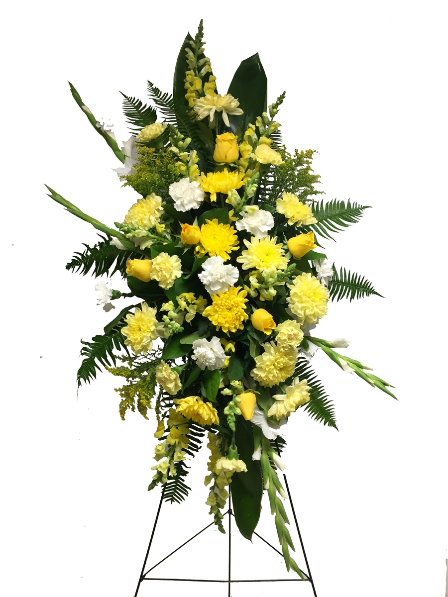 Coquitlam Funeral Flower Standing Spray for Him   Burnaby Florist Adele Rae