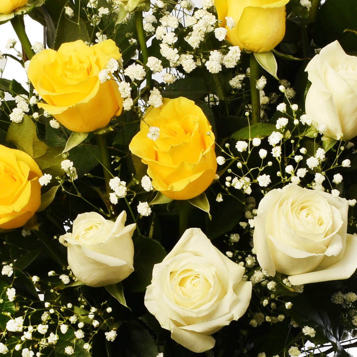 Sympathy Flower arrangement with white and yellow roses for funeral home delivery in Vancouver or Burnaby Adele Rae Florist.