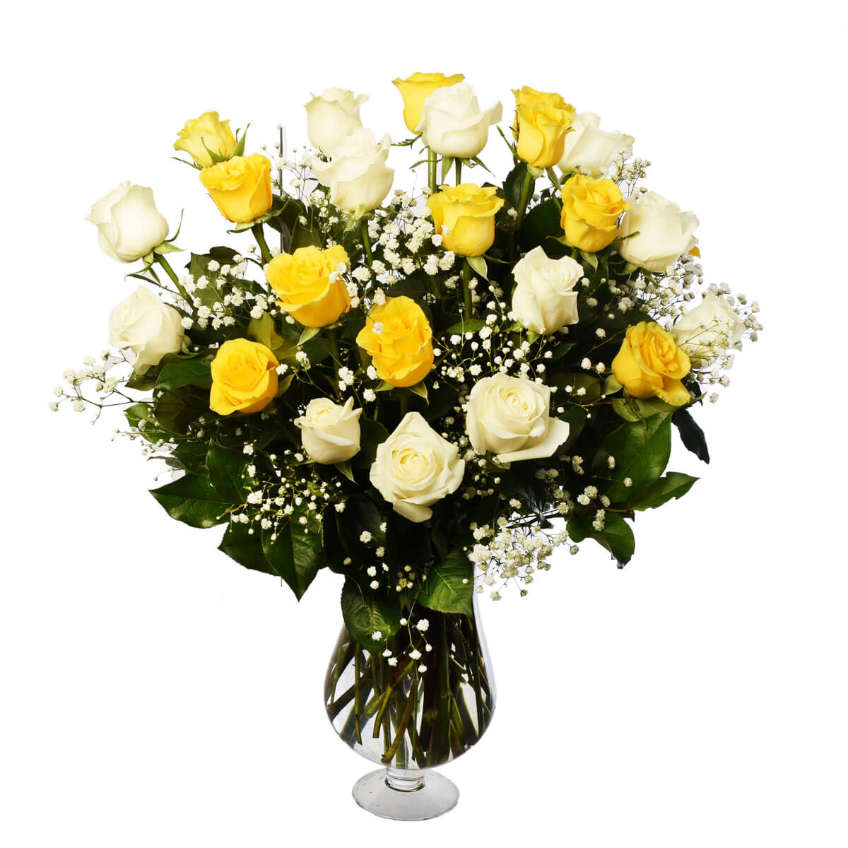 Funeral Flower arrangement with white and yellow roses for sympathy from Burnaby Florist Adele Rae.