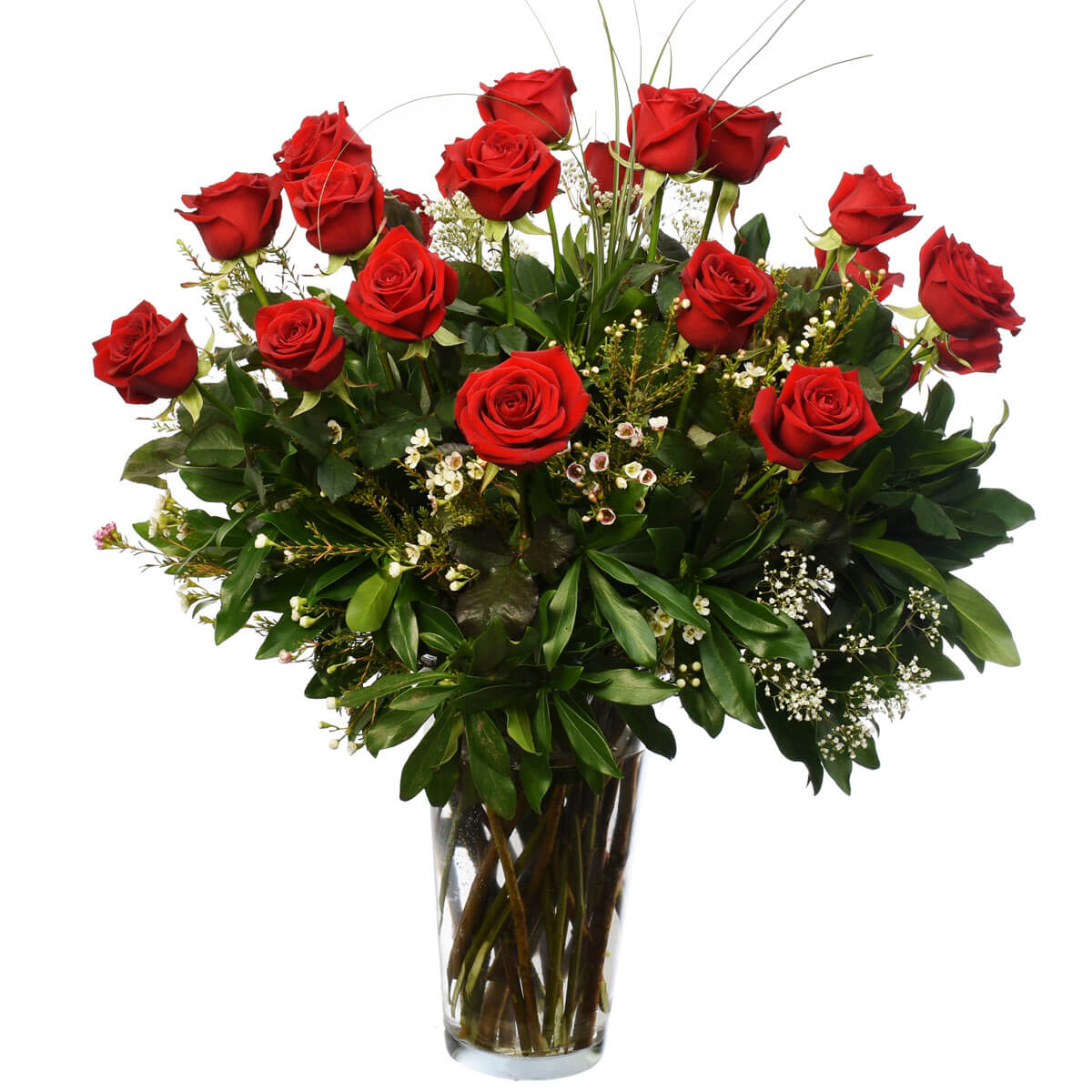 Two dozen red roses in a vase. Vancouver Florist