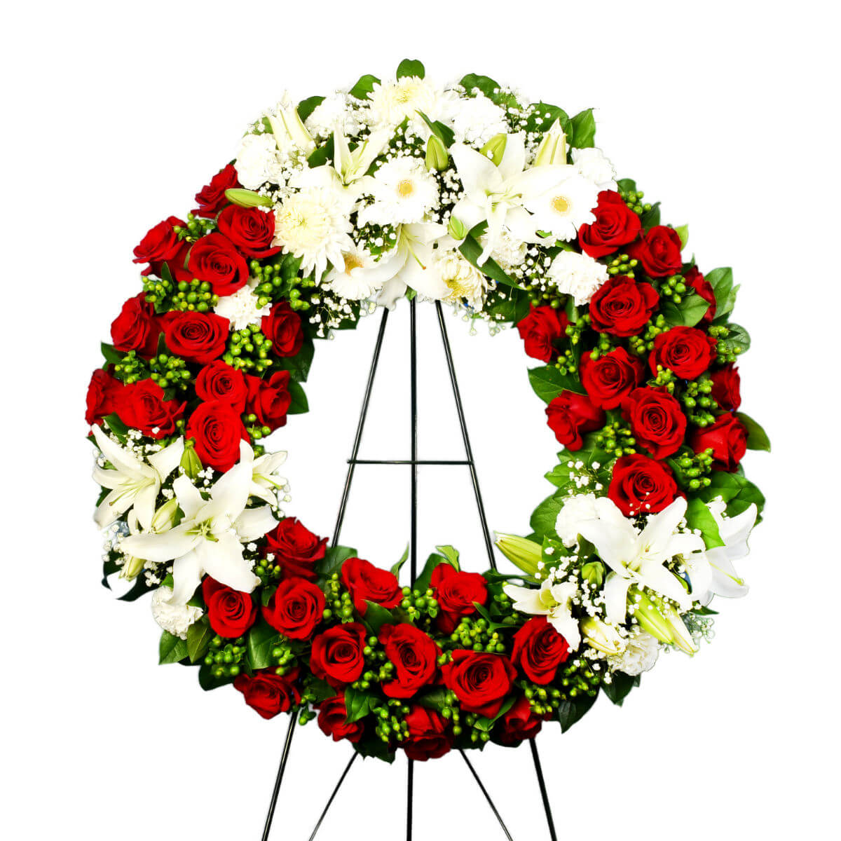 Red and White Funeral Flower Wreath | Burnaby BC Florist Adele Rae
