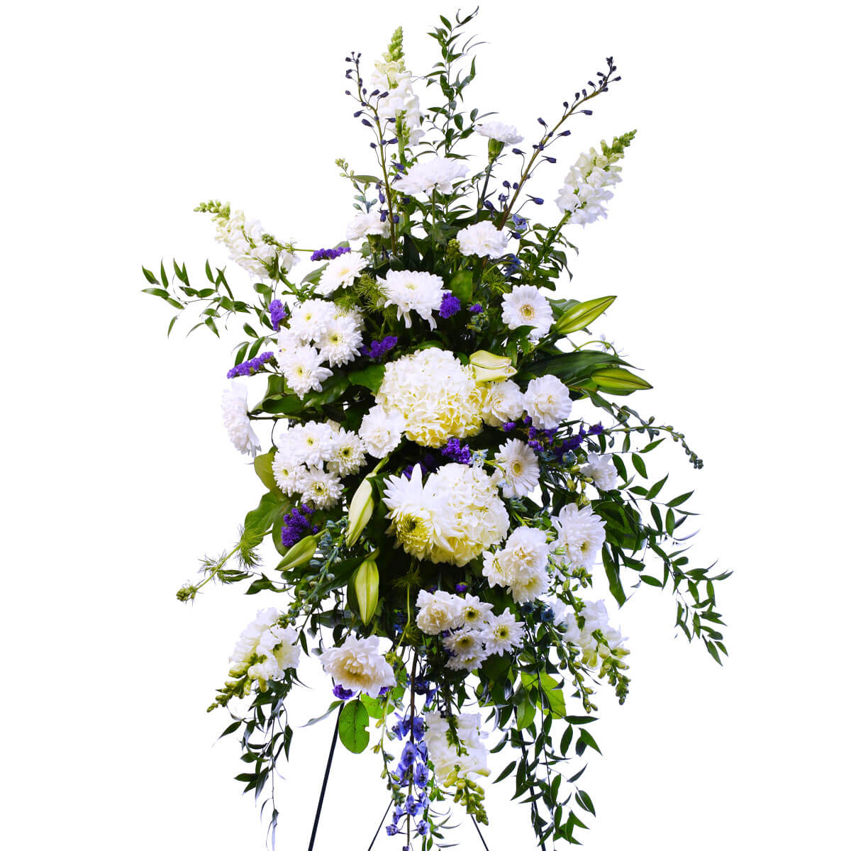 Funeral flower standing spray with white flowers for delivery in Vancouver