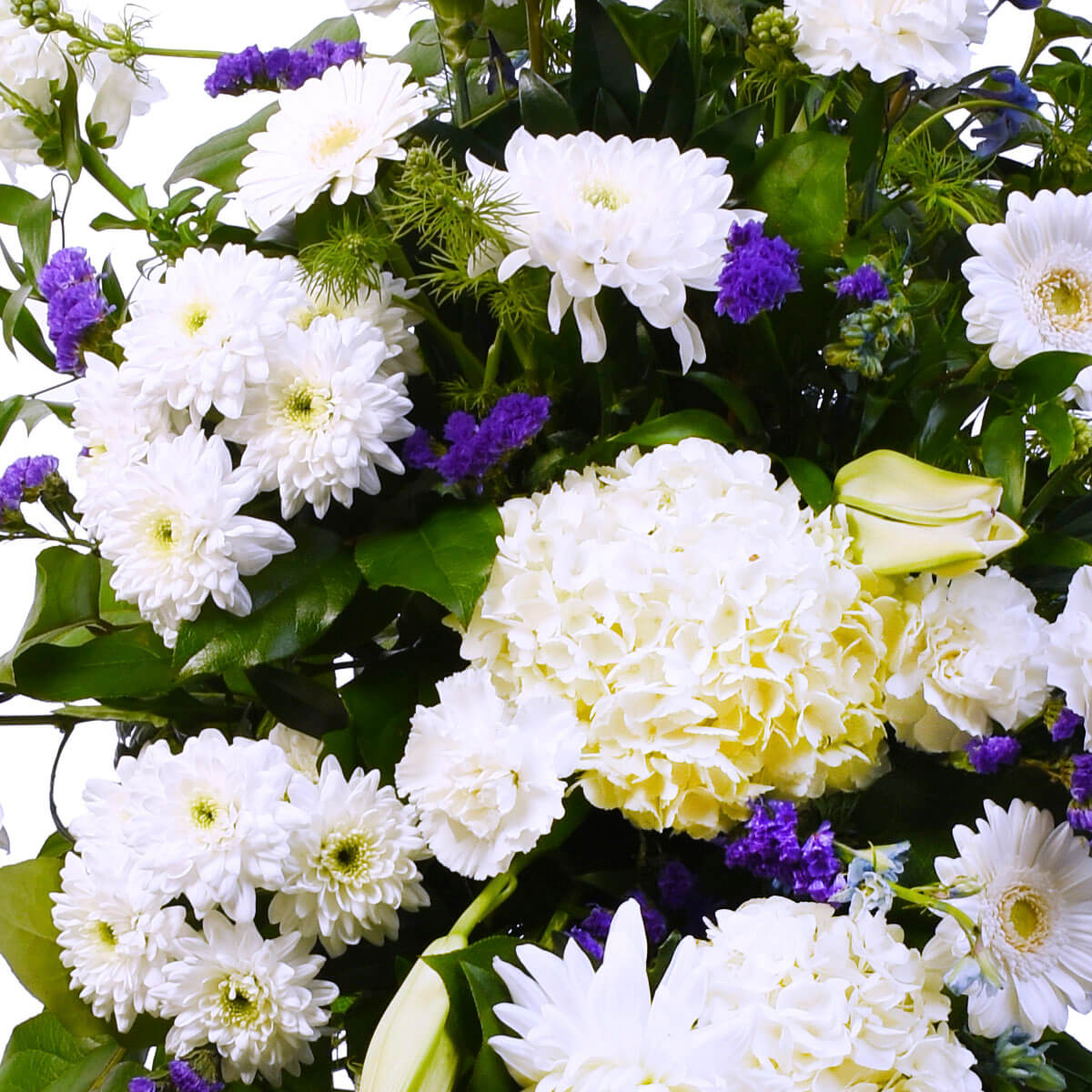 Funeral Standing Spray with white flowers for delivery in Burnaby and Coquitlam