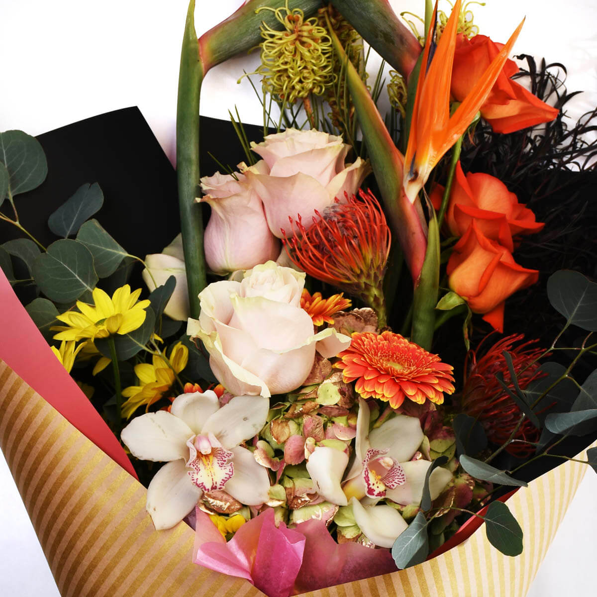 A bouquet of mix flowers like Bird of Paradise.