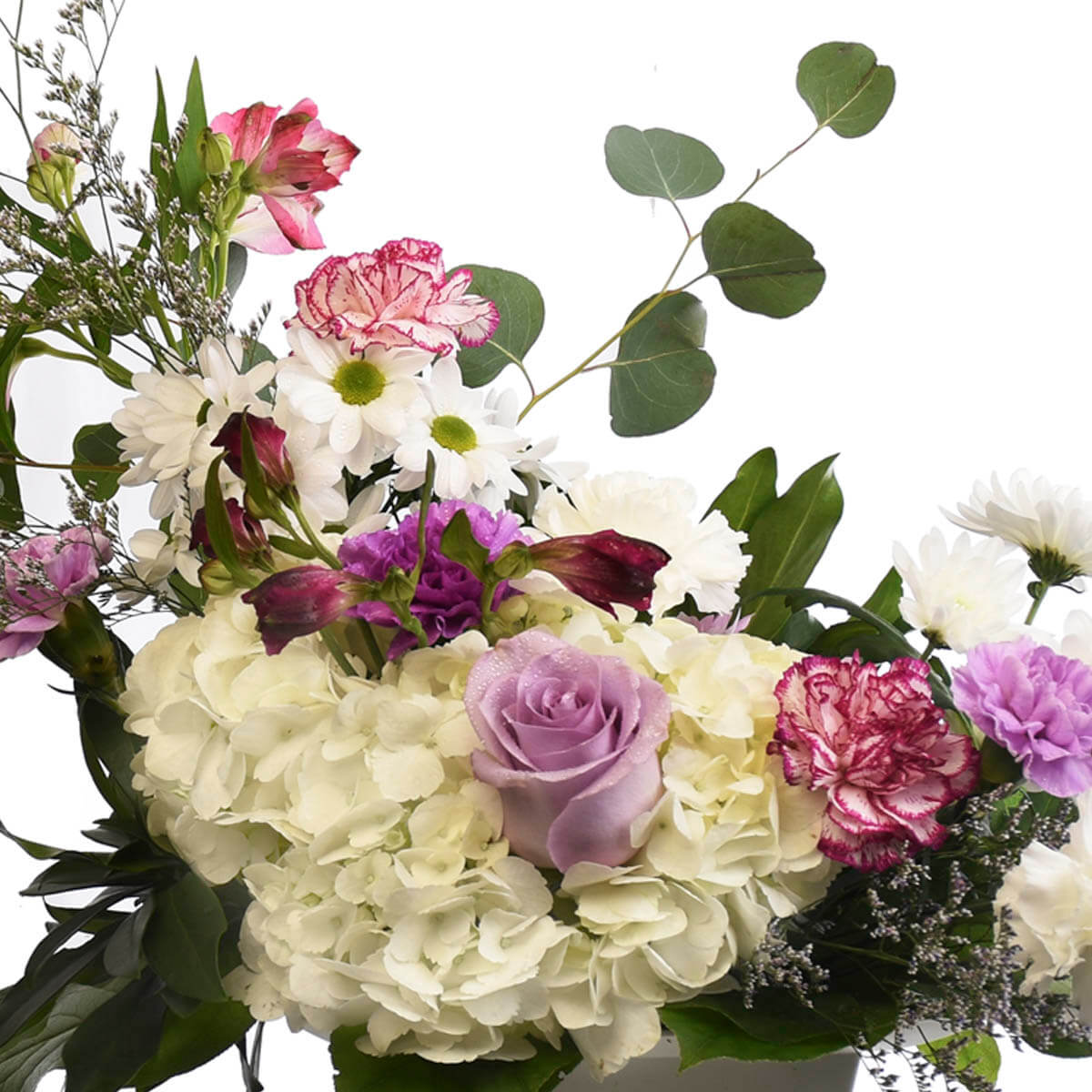 Mixed flower arrangement with hydrangea, caspia, carnations and roses. Local Floral shop in Burnaby Heights
