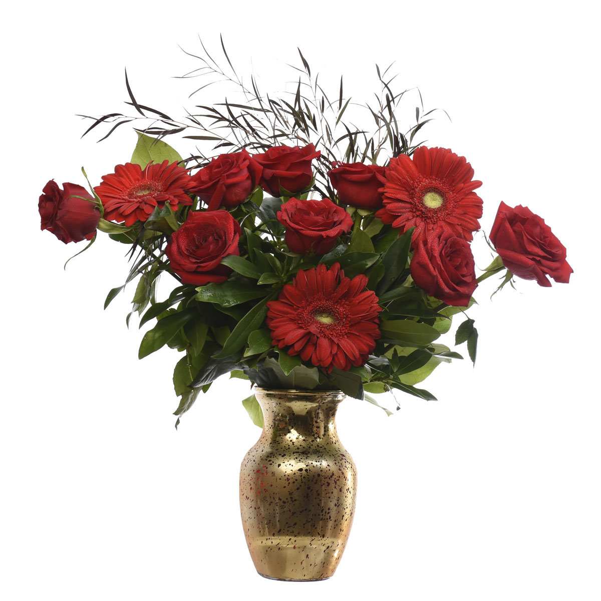 Golden Vase filled with red roses and red gerbs.