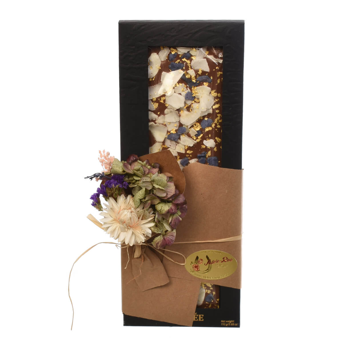 Chocolate bar with crystallized violet petals
