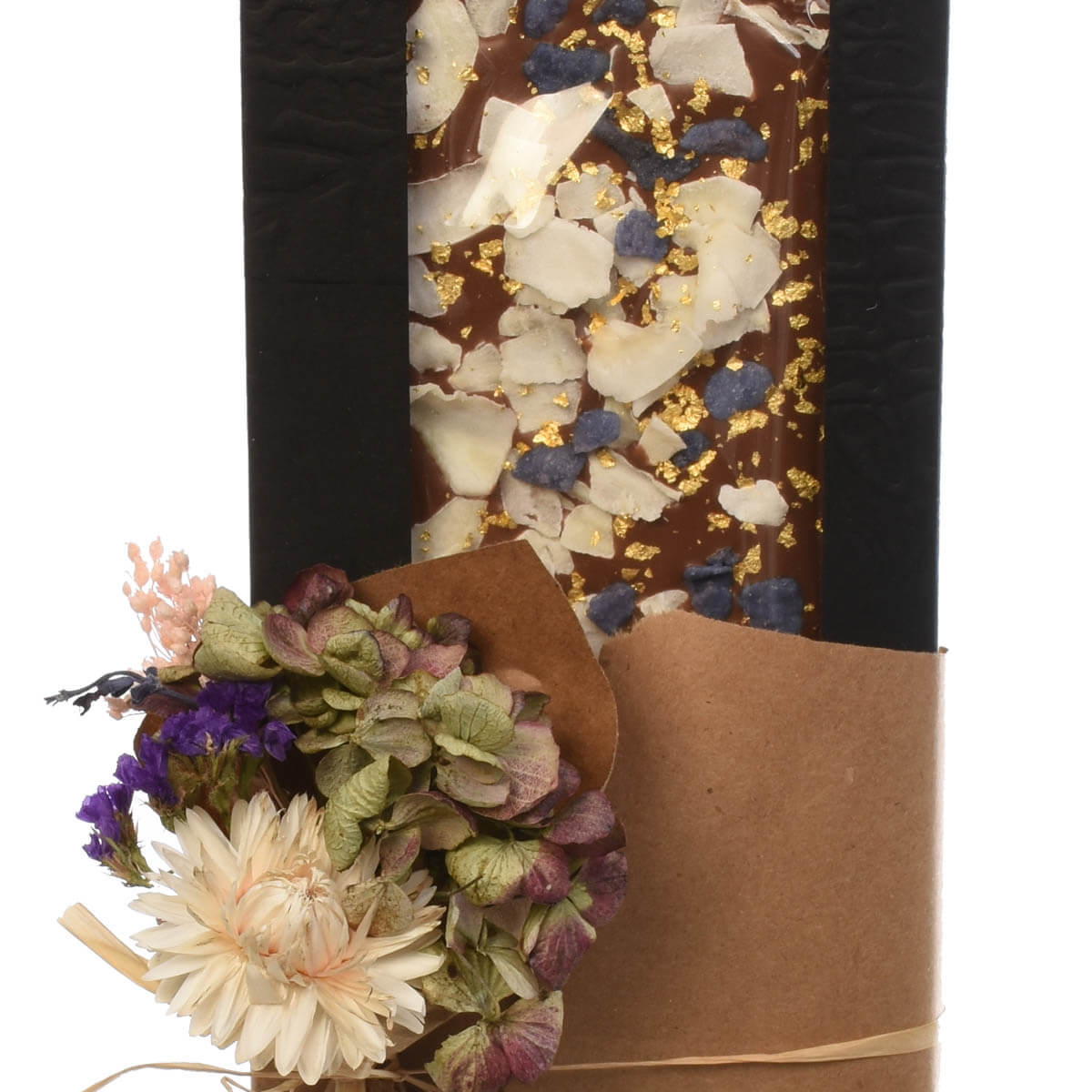 Adele Rae chocolate bar with crystallized violet petals and coconut shavings