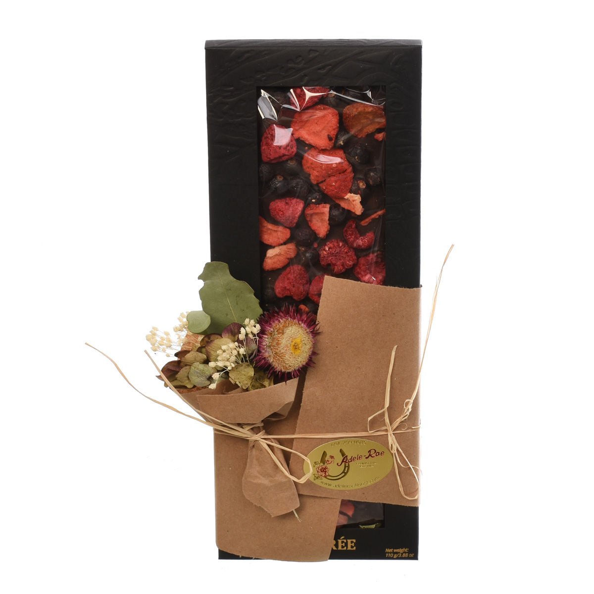 Dark chocolate bar with dried strawberry from Adele Rae Burnaby Florist