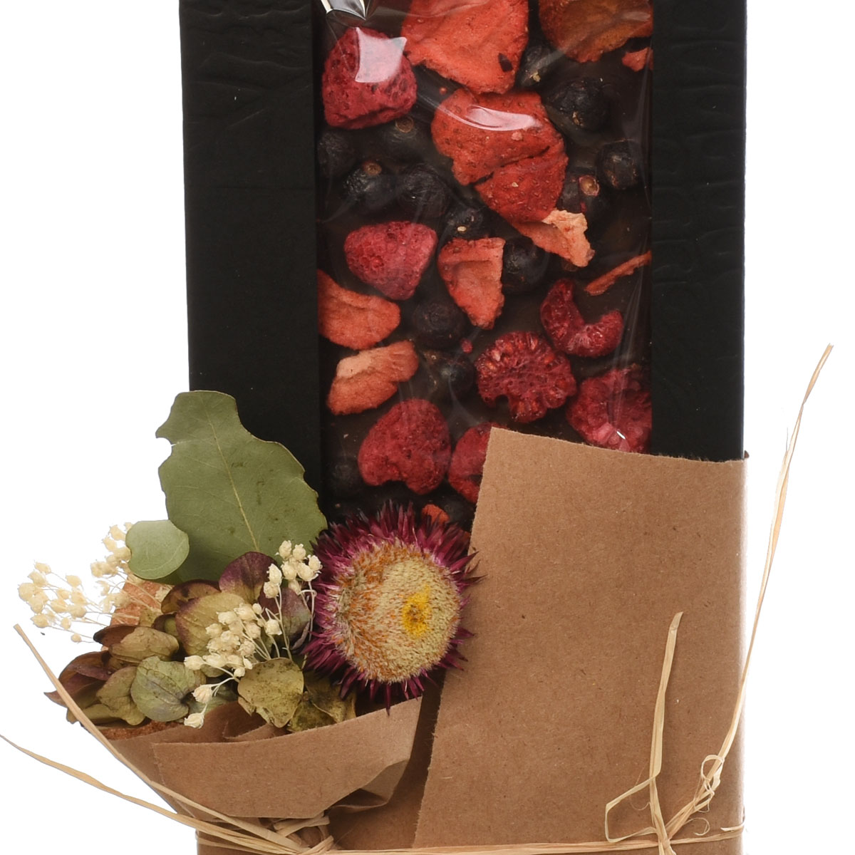 Dark chocolate bar with dried strawberry as add-on for Adele Rae flower designs