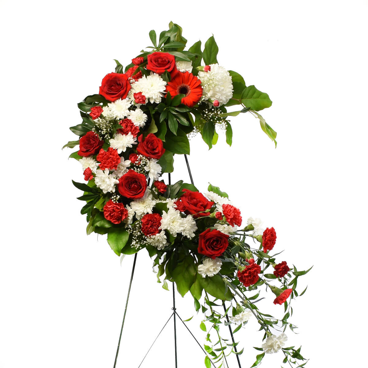 Funeral wreath red and white in Burnaby