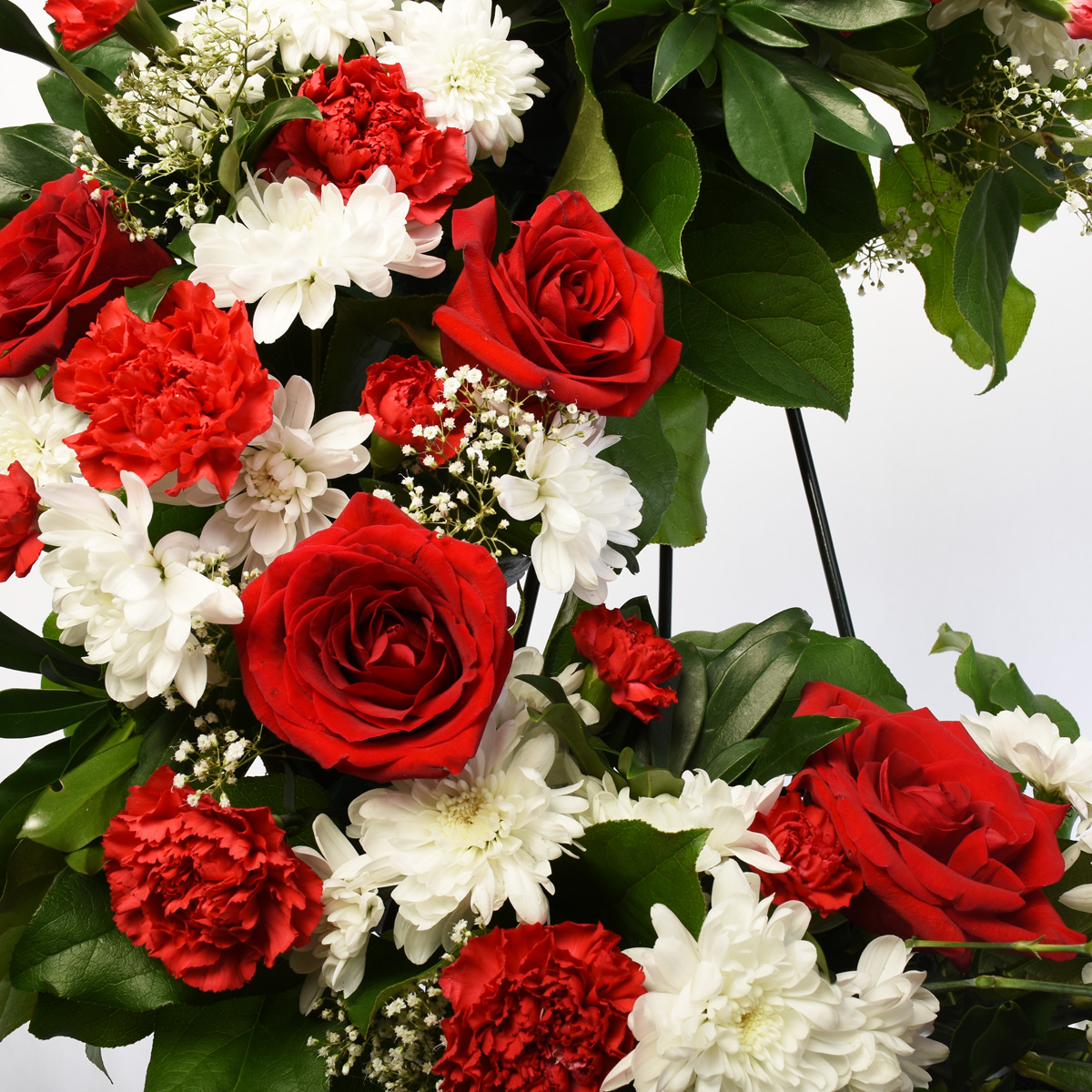Red and white inch luxury wreath 24 inch by Burnaby Florist Adele Rae