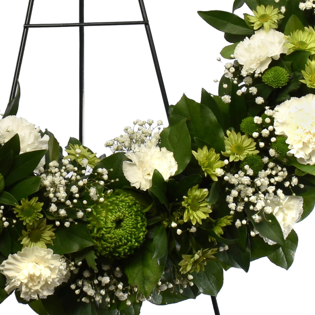 Funeral 24 inch flower wreat with carnations, daises and spray mums