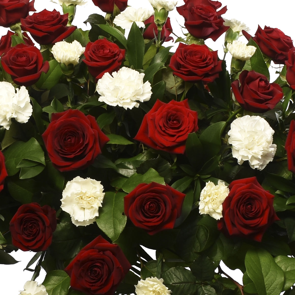 Funeral flower casket spray for delivery in Vancouver , Burnaby and Coquitlam with red roses and white carnations.
