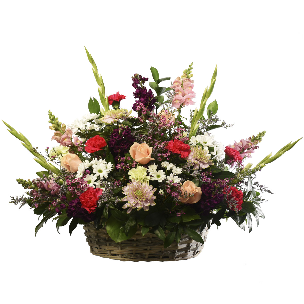 Flower arrangement in a basket with a mix selection of high quality flowers from your local Burnaby Florist Adele Rae