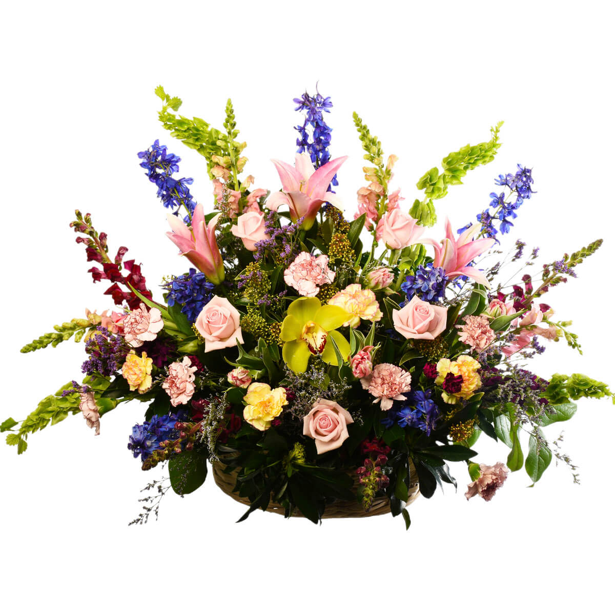 Flower arrangement in a basket design
