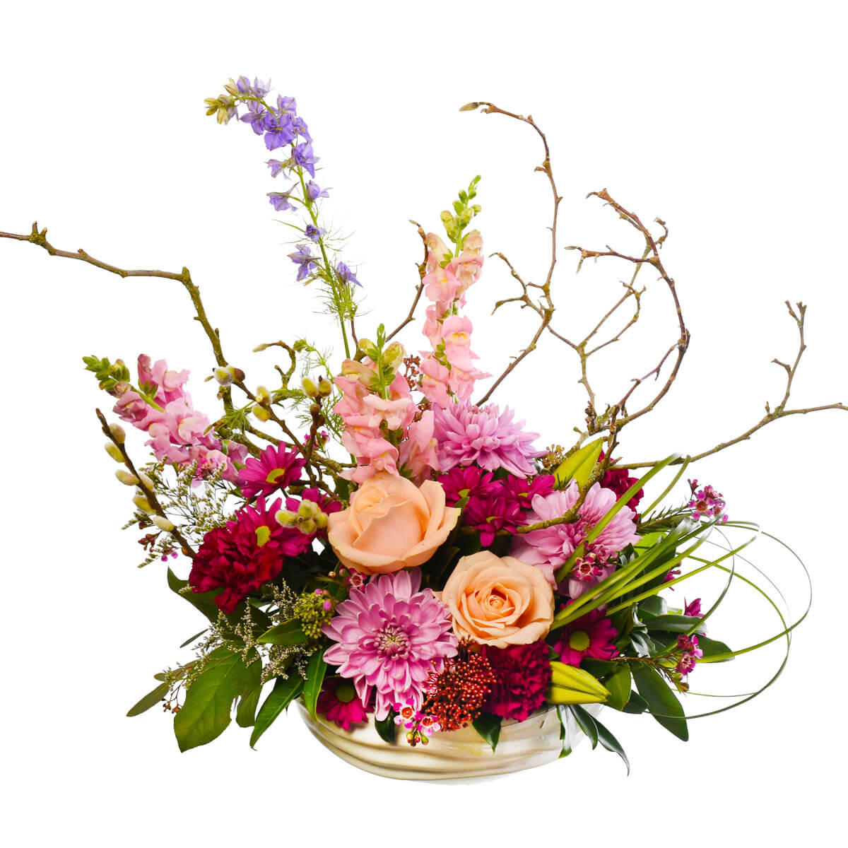 Flower arrangement for mom with pink and hot pink flowers