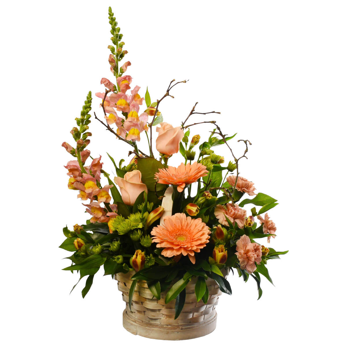 Vancouver floral basket in coral colour for delivery.