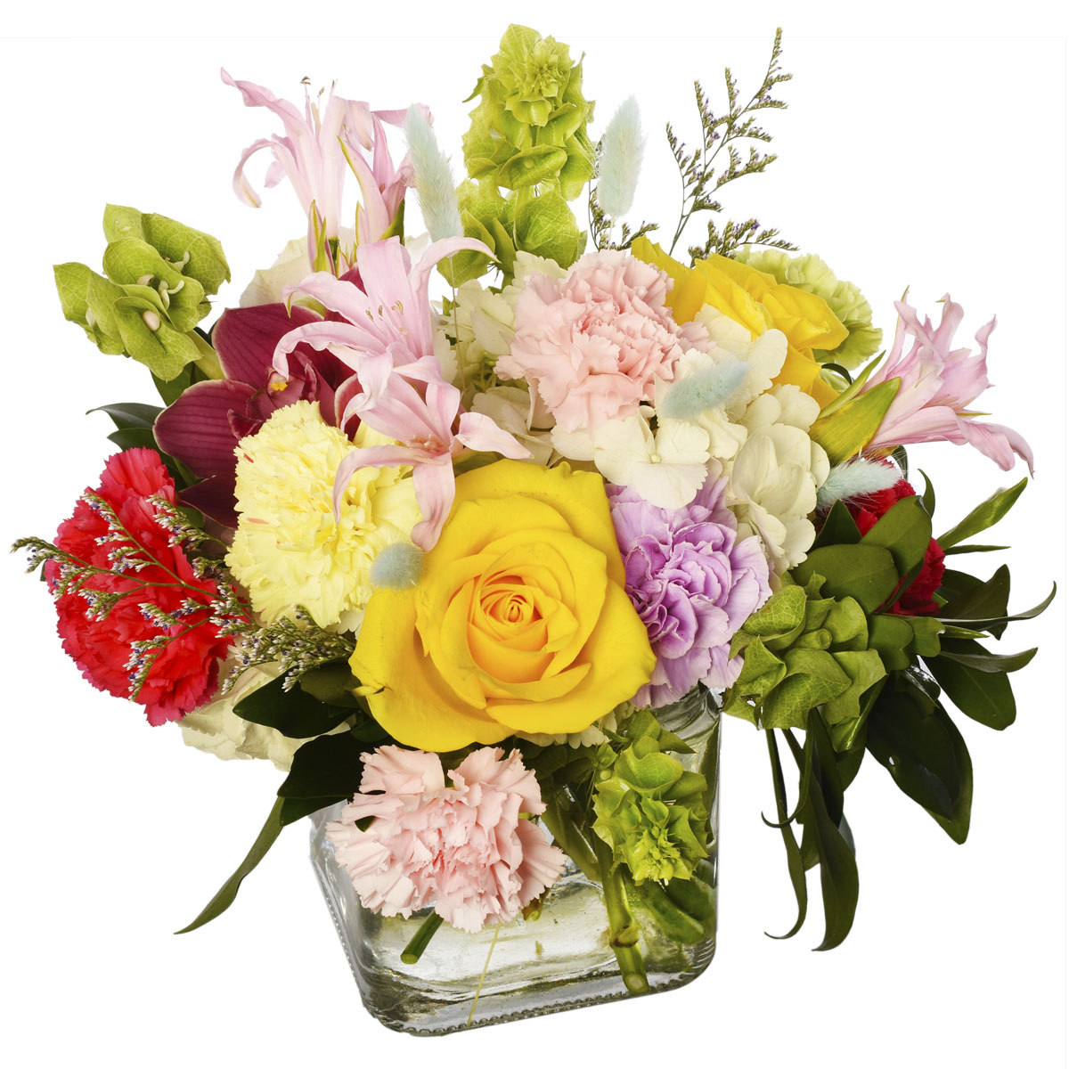 Buy beautiful flowers for this Mother's day, a glass cube filled with bright fresh flowers for Burnaby and Vancouver delivery from Adele Rae Florists.