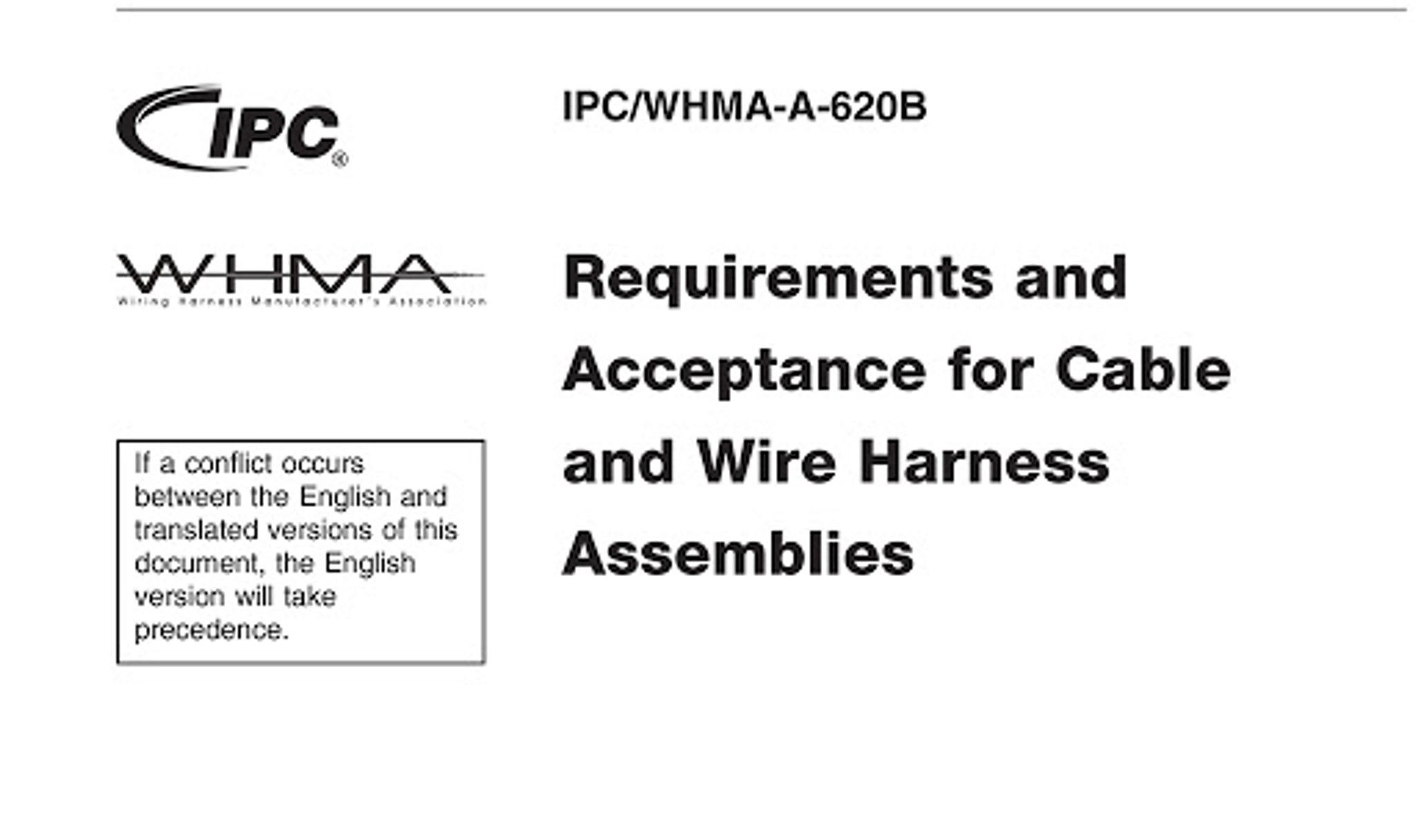 IPC/WHMA-620 specification for training and reference