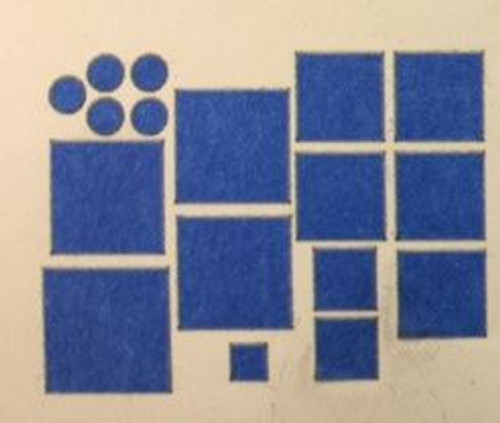 Blue painters tape shapes for masking