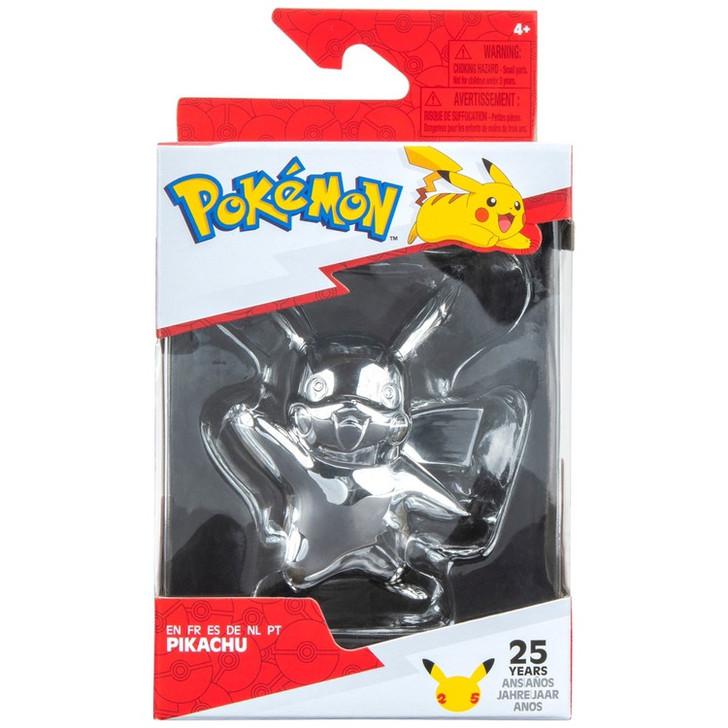 "Pokemon 25Th Celebration 3"" Silver Pikachu Figure"