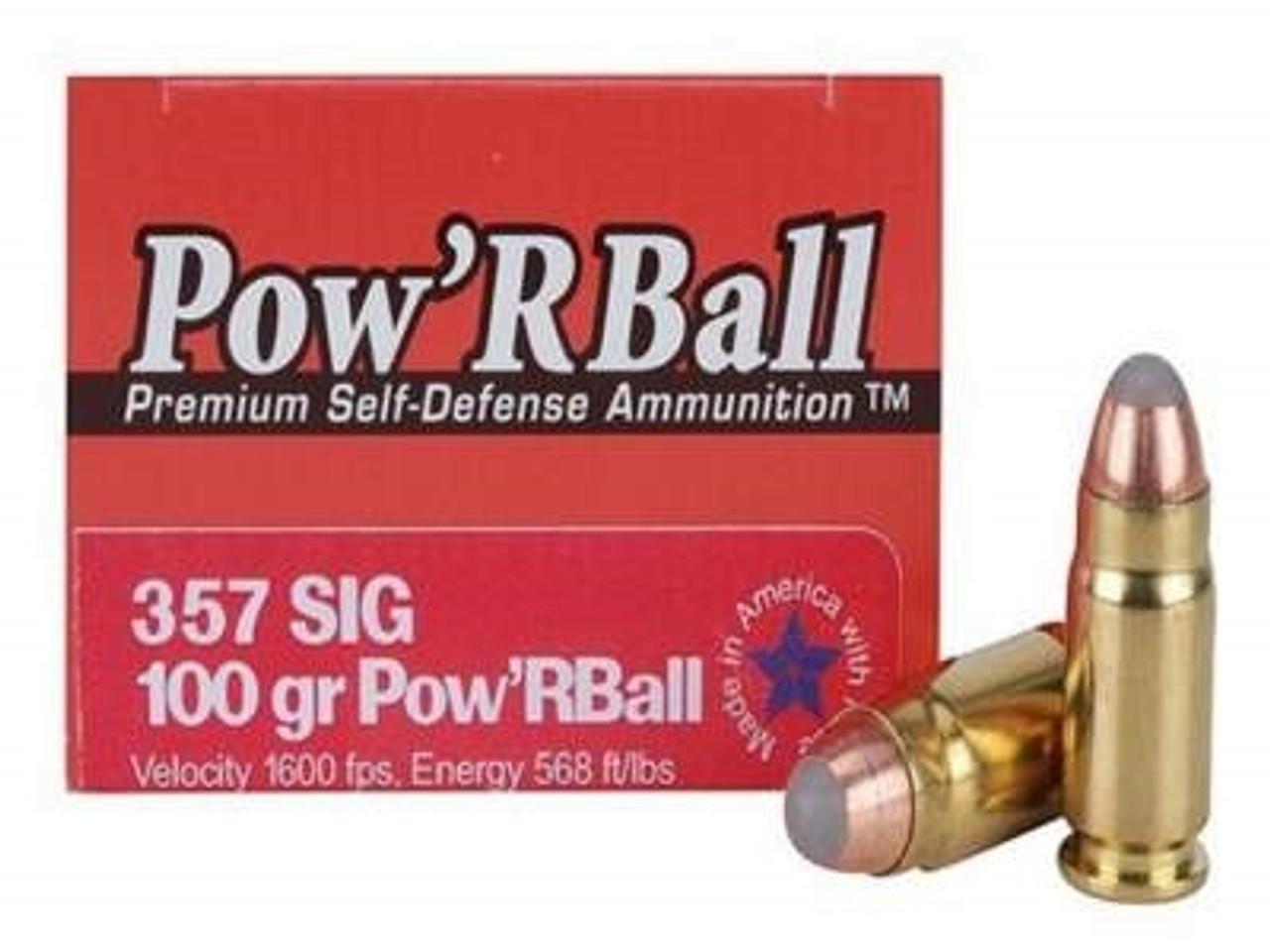 Glaser Corbon 357 SIG PB357SIG100 Ammunition 100 Grain Pow'r Ball 20 rounds