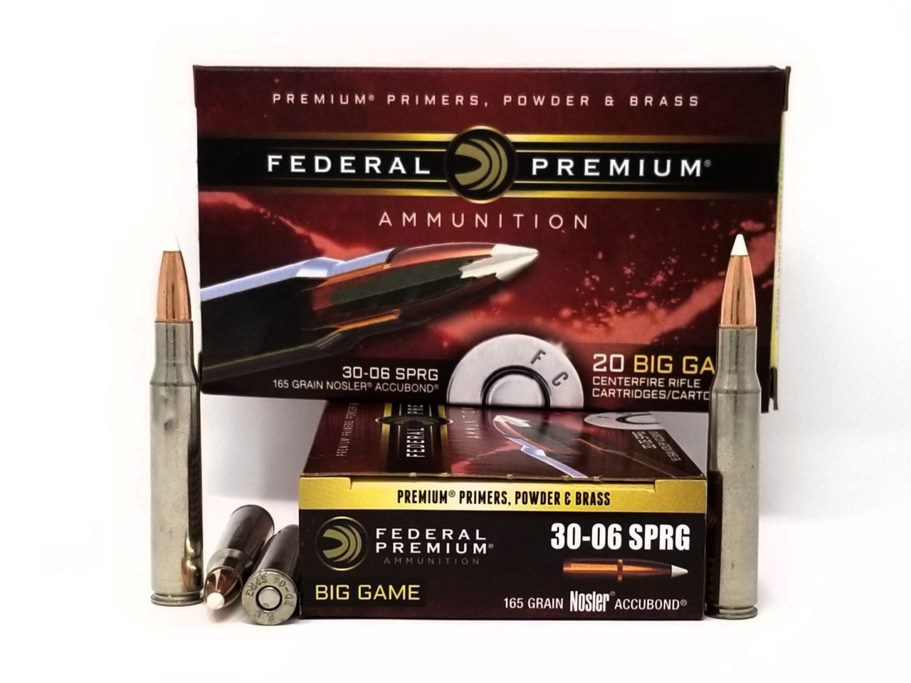 Federal 30-06 Ammunition Big Game P3006A2 165 Grain Nosler AccuBond Polymer  Tip 20 Rounds