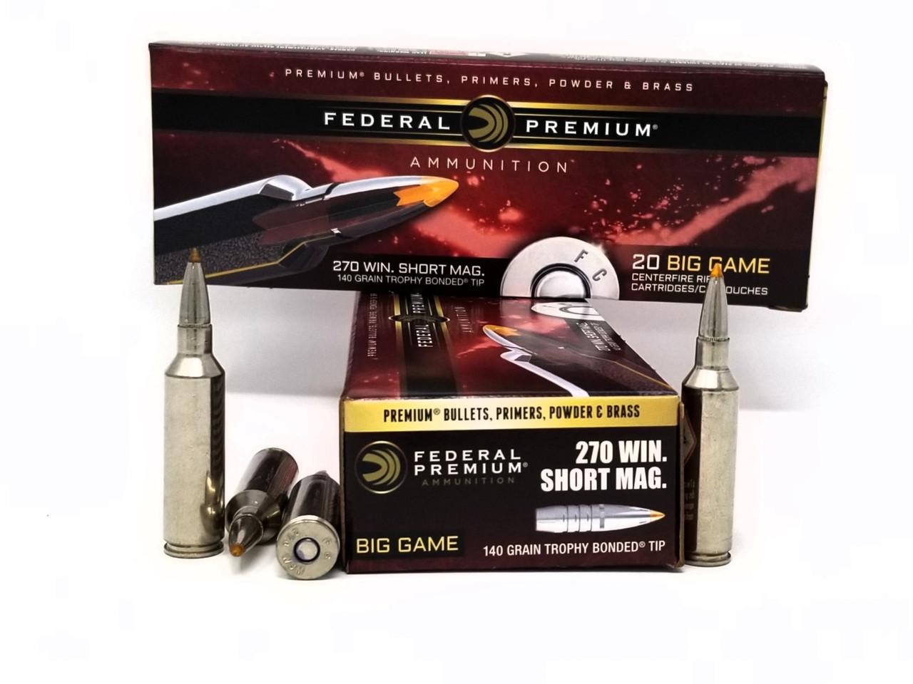 Federal 270 WSM Ammunition Big Game P270WSMTT3 140 Grain Trophy Bonded Tip  20 Rounds
