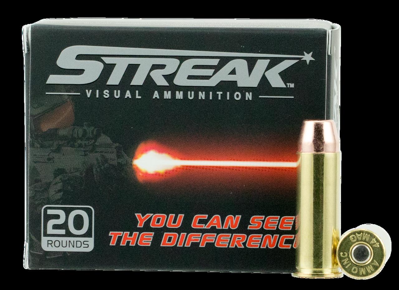 Ammo Inc  44 Mag Ammunition STREAK 44240TMC-STRK 240 Grain Tracer Full  Metal Jacket 20 Rounds