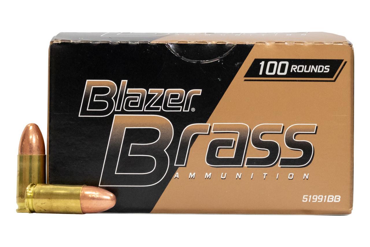 CCI 9mm Ammunition Blazer Brass 51991BB 115 Grain Full Metal Jacket 100  Rounds