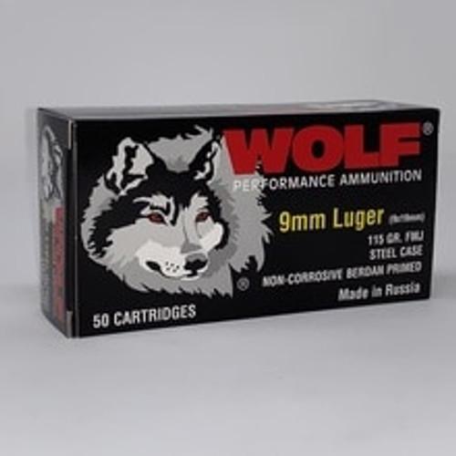 Wolf 9mm Ammunition 115 Grain Full Metal Jacket 50 Rounds