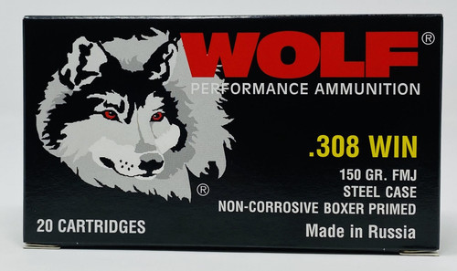 Wolf 308 Win Polyformance Ammunition 150 Grain Full Metal Jacket 20 Rounds