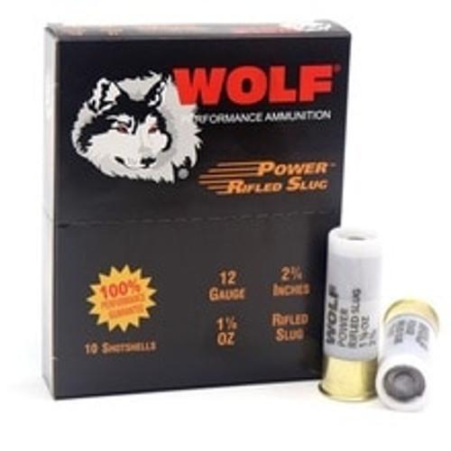 """Wolf Performance 12 Gauge Ammunition 2-3/4"""" 1-1/8oz Rifled Slug 10 Rounds"""