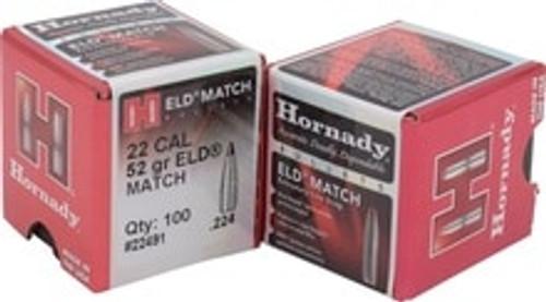 Hornady ELD Match 22 Caliber .224 Projectiles 22491 52 Grain 100 Pieces