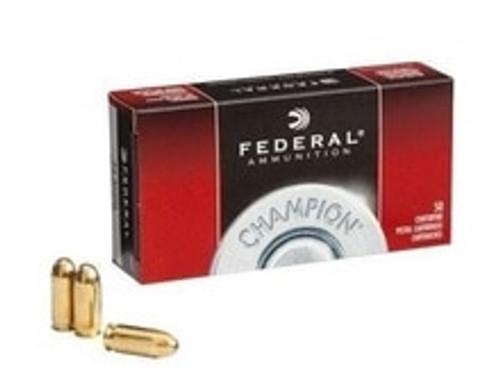 Federal 9mm Luger Ammunition WM5199 Champion Training  115 Grain Full Metal Jacket 50 Rounds