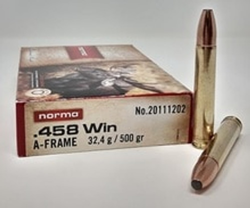 Norma A-Frame 458 Winchester Magnum Ammunition 500 Grain 20 Rounds