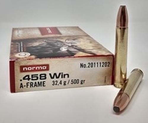 Norma A-Frame 458 Winchester Magnum Ammunition 500 Grain 20 Rounds
