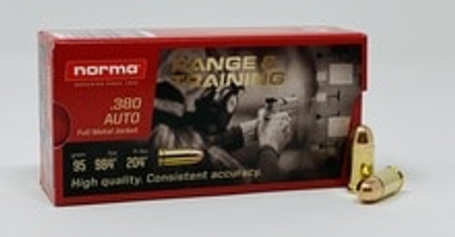 Norma 380 Auto Ammunition 620140050 95 Grain Full Metal Jacket 50 Rounds