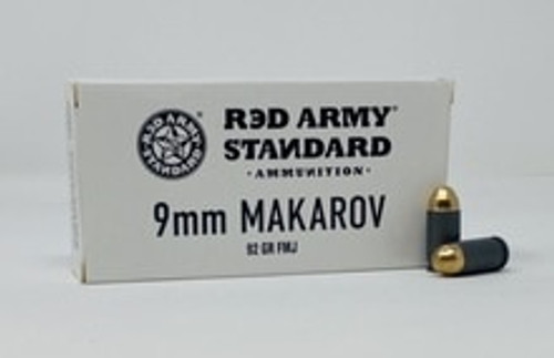 Century Red Army Standard 9x18mm **Makarov** (NOT LUGER) Ammunition AM3264 92 Grain Full Metal Jacket 50 Rounds