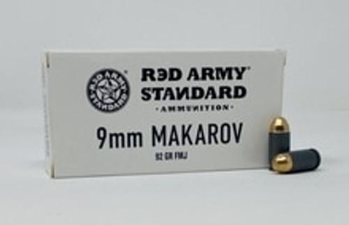 Century Red Army Standard 9mm Makarov Ammunition AM3264 92 Grain Full Metal Jacket 50 Rounds