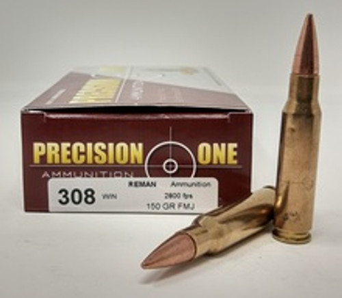 Precision One 308 Win Ammunition *REMAN* PONE564 150 Grain Full Metal Jacket 20 Rounds