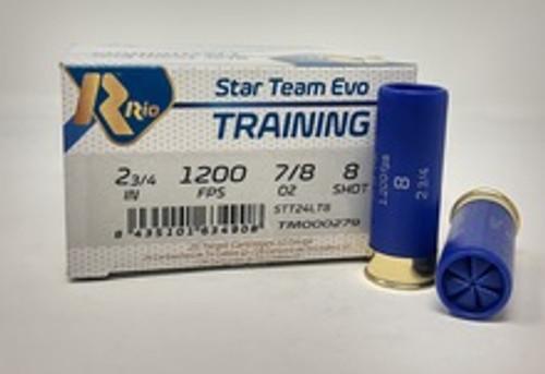 """Rio Star Team Training 12 Gauge Ammunition STT24LT8CASE 2-3/4"""" 7/8 oz #8 Shot CASE 250 Rounds"""