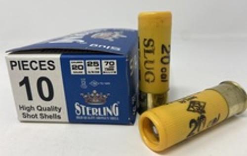 """Sterling 20 Gauge Ammunition  STRLG20SLUG 2-3/4"""" 7/8 oz Big Game Slug 10 Rounds"""