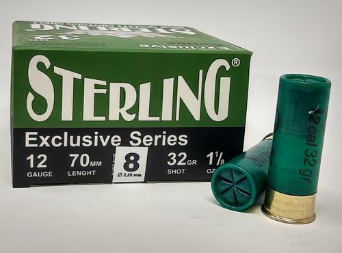 """Sterling 12 Gauge Ammunition STRLG1232G8CASE 2-3/4"""" 1-1/8 oz #8 Shot CASE 250 Rounds"""