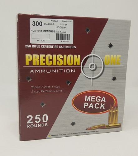 Precision One *REMAN* 300 Blackout Ammunition PONE1040 130 Grain Hollow Point Mega Pack 250 Rounds