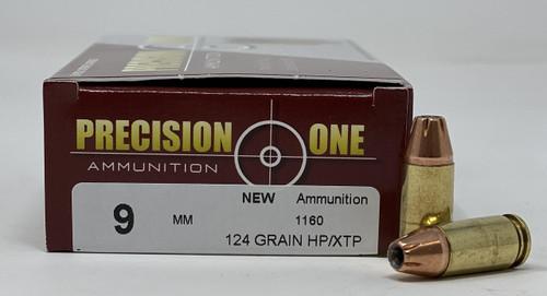 Precision One 9mm Ammunition 124 Grain Hollow Point/XTP 50 Rounds